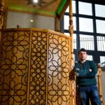 The beautiful minbar (pulpit) was created as a labour of love by builder Khaled Al Jeblawi.