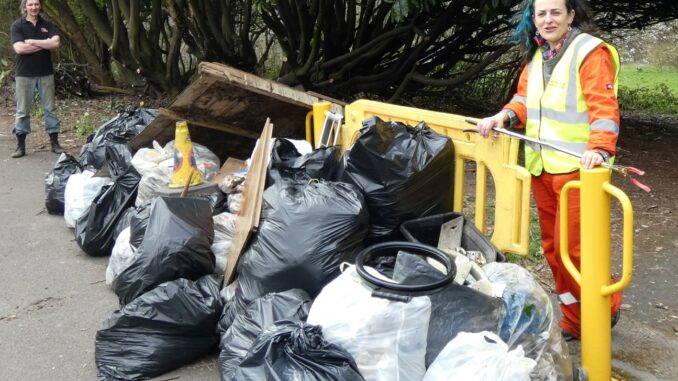 Pitsmoor Pickers: bags of collected rubbish.