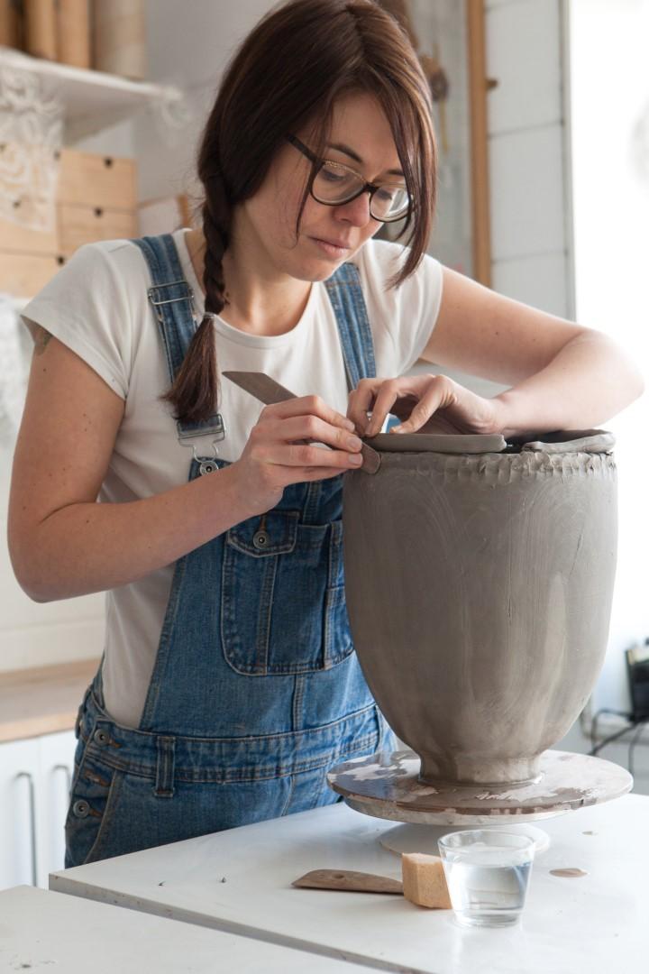 Emilie Taylor making a pot